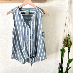 C & C California striped sleeveless button down
